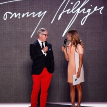 "BERLIN, GERMANY - JULY 09: Zoe Hardman (R) and designer Tommy Hilfiger on stage at the award show ""Designer for Tomorrow"" by Peek & Cloppenburg Düsseldorf and Fashion ID as part of Mercedes-Benz Fashion Week Spring/Summer 2015 at Erika Hess Eisstadion on July 9, 2014 in Berlin, Germany. (Photo by Peter Michael Dills/Getty Images for P&C & Fashion ID) *** Local Caption *** Zoe Hardman;Tommy Hilfiger"