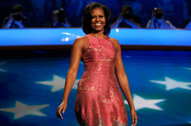 U.S. first lady Obama arrives on stage before addressing first session of the Democratic National Convention in Charlotte