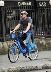 Leonardo DiCaprio Rides one of the Blue Bikes from the Citi Bike Project