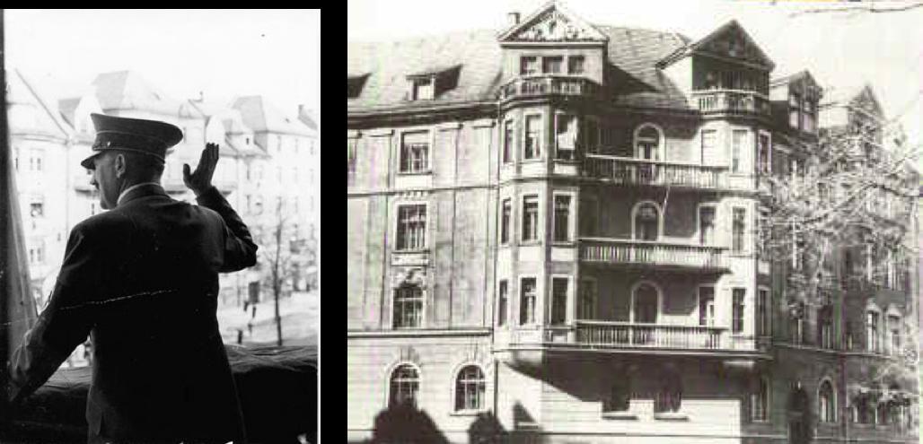 Hitler pe balconul apartamentului