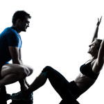 man woman exercising abdominal workout fitness