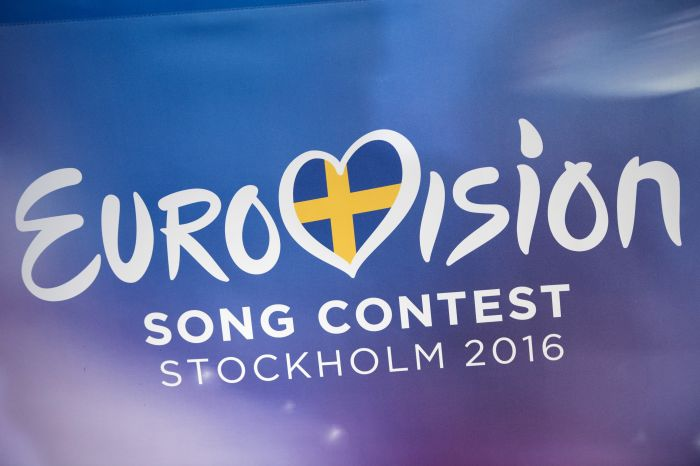 The logo of the Eurovison Song Contest 2106 is seen during the draw for the semi-finals of Eurovision Song Contest at Stockholm City Hall, Sweden